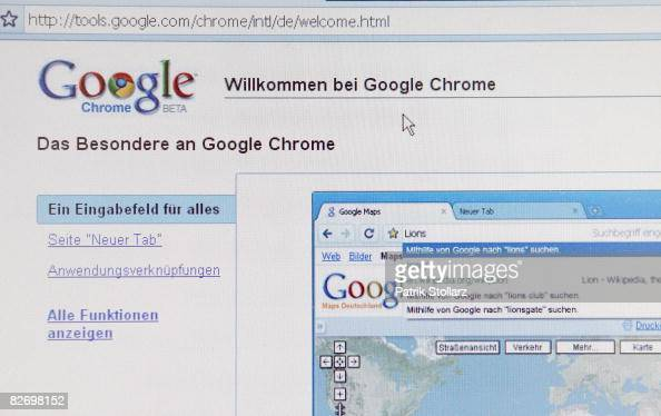 In this photo illustration Google's new Internet Browser 'Chrome' is seen on a laptop screen on September 7 2008 in Berlin Germany Google launched...
