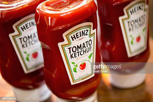 In this photo illustration Heinz Tomato Ketchup is shown on March 25 2015 in Chicago Illinois Kraft Foods Group Inc said it will merge with HJ Heinz...