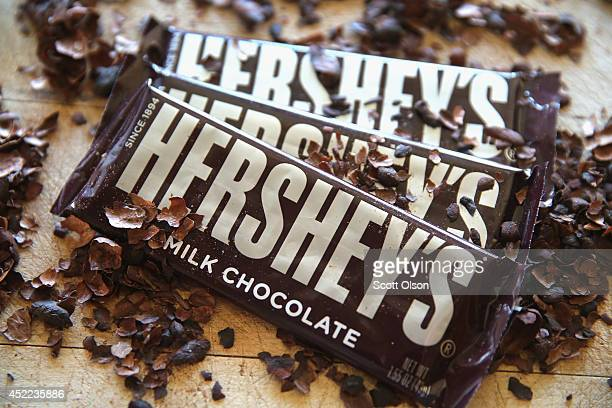 In this photo illustration Hershey's chocolate bars are shown on July 16 2014 in Chicago Illinois Hershey Co the No1 candy producer in the US is...