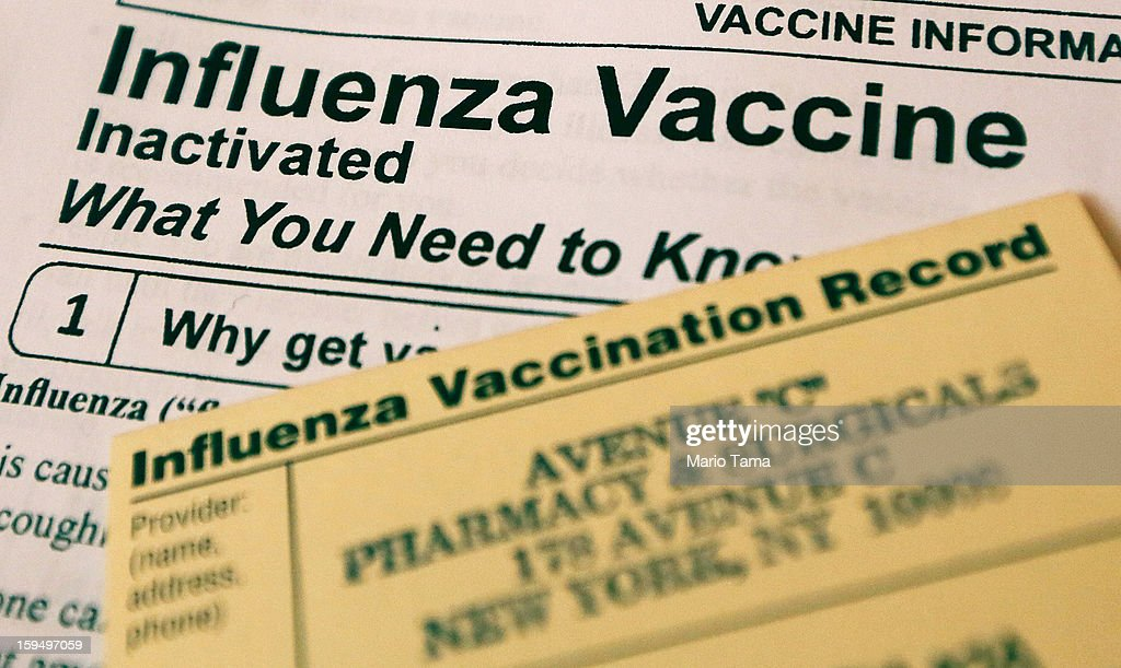 In this photo illustration, Influenza vaccine paperwork for patients is seen on January 14, 2013 in New York City. The state of New York has declared a public health emergency in a flu epidemic of more than 19,000 confirmed cases in the state.