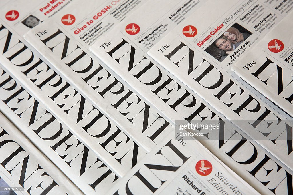 In this photo illustration is a selection of the The Independent newspapers on February 12, 2016 in London, United Kingdom. The British newspaper 'The Independent' which has been in circulation since 1986, will move to a 'digital only' platform from March 26, 2016, the owners ESI Media said in a statement today.
