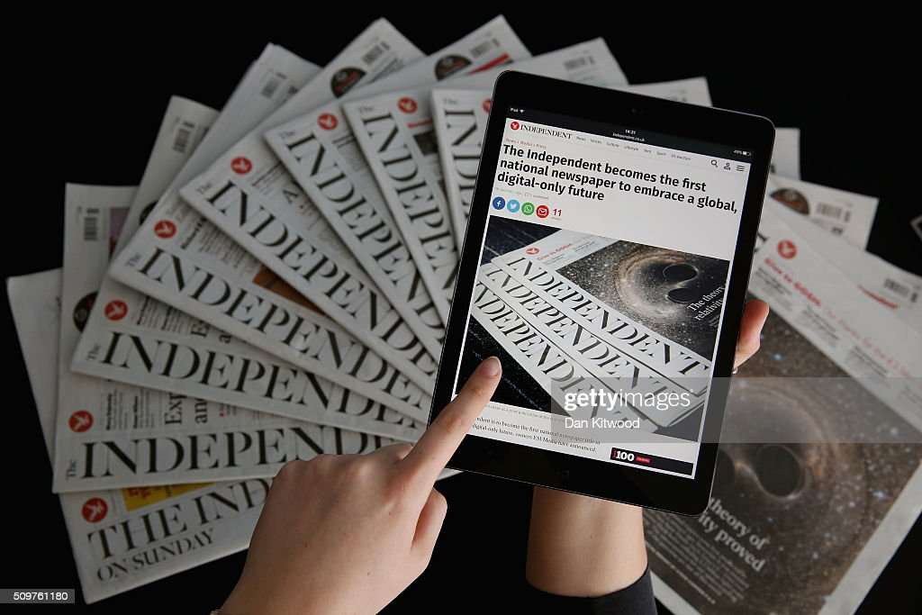 In this photo illustration is an iPad displaying The Independent's online platform above a selection of The Independent newspapers on February 12, 2016 in London, United Kingdom. The British newspaper 'The Independent' which has been in circulation since 1986, will move to a 'digital only' platform from March 26, 2016, the owners ESI Media said in a statement today.