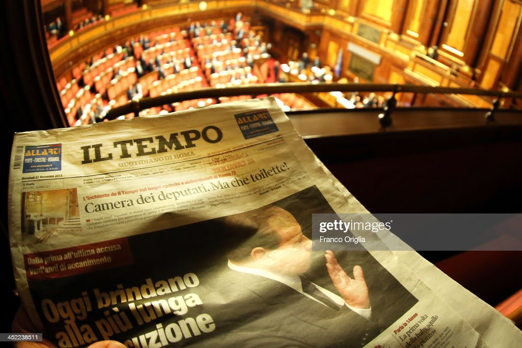 In this photo illustration, Italian newspaper IL Tempo features Silvio Berlusconi on the front cover as at the Italian Senate, Palazzo Madama carries out discussions before the votes over Silvio Berlusconi's Parliament expulsion on November 27, 2013 in Rome, Italy. Italian Senators will vote today on whether to expel the center-right leader and former Prime Ministre Silvio Berlusconi from parliament over a conviction for tax fraud.