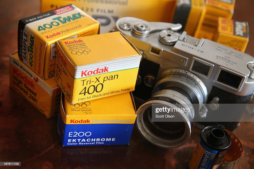 In this photo illustration, Kodak film is seen alongside a vintage Leica M3 35mm rangefinder camera on April 30, 2013 in Chicago, Illinois. Eastman Kodak Co. has reached a deal to turn over the company's film business to U.K. Kodak Pension Plan to eliminate a $2.8 billion pension obligation. Kodak, which once had a 90 percent market share of U.S. film sales, filed for bankruptcy last year.