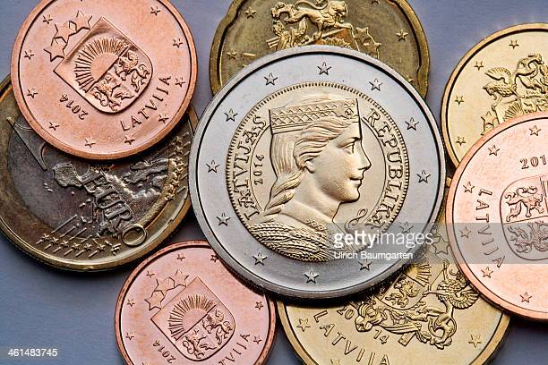 In this photo illustration Latvian Euro coins In the middle the back of a 2 Euro coin on January 08 2014 in Bonn Germany