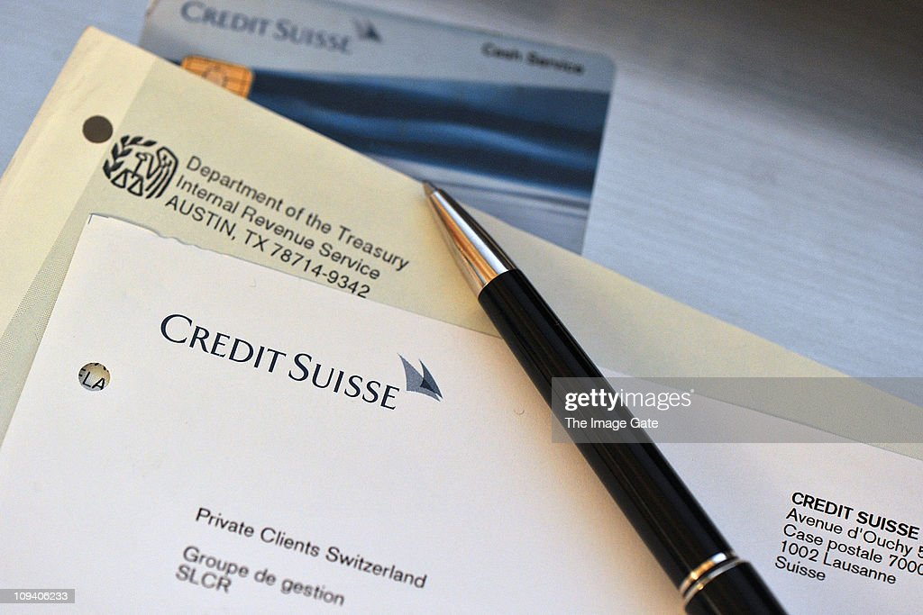 In this photo illustration letterheads details of the Internal Revenue Service and the Credit Suisse are displayed on February 24 2011 in Basel...