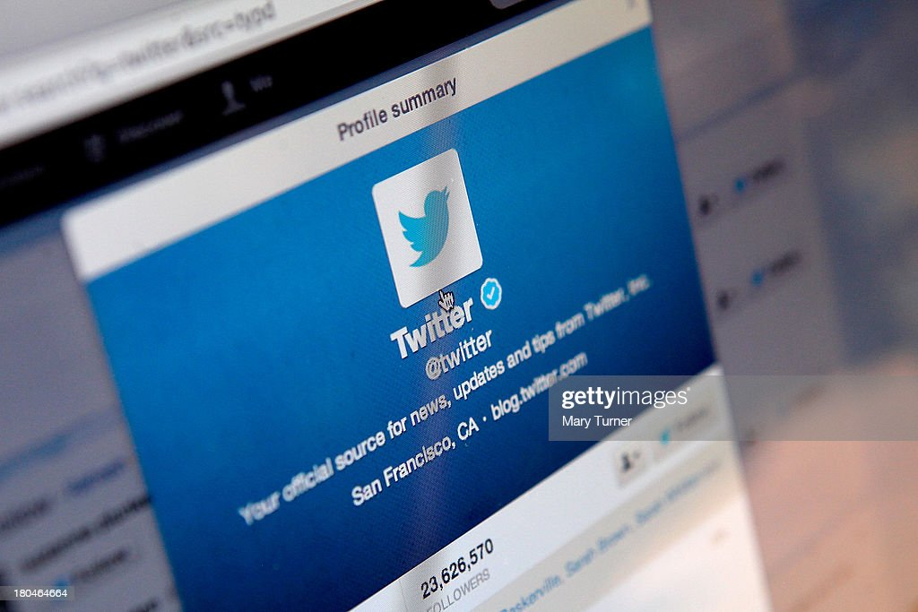 In this photo illustration, logos for the microblogging site Twitter, displayed on the internet on September 13, 2013 in London, England. Twitter has announced plans to float on the stockmarket.