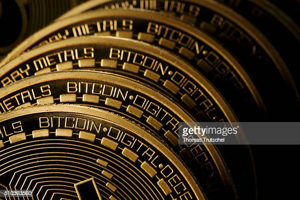 In this photo illustration model Bitcoins are seen on February 15 2016 in Berlin Germany