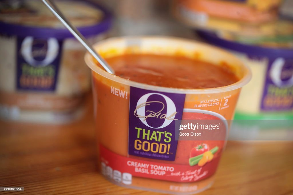 In this photo illustration, 'O That's Good!' food products, introduced by Oprah Winfrey in collaboration with Kraft Heinz, are shown on August 11, 2017 in Chicago, Illinois. The comfort food collection which currently includes four refrigerated side dishes and four refrigerated soups, all with a 'nutritious twist', will be available in stores nationwide in October.