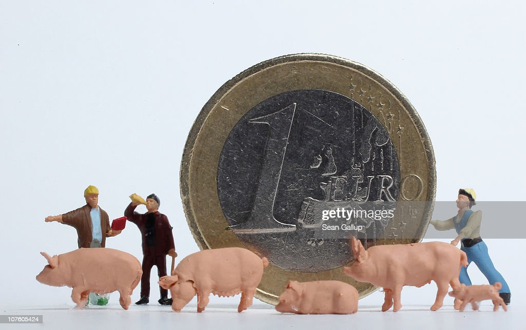In this photo illustration plastic toy construction workers and pigs stand around a one Euro coin on December 15 2010 in Berlin Germany European...