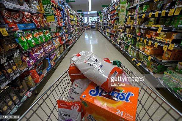 In this photo illustration products containing high sugar levels are on display at a supermarket on April 8 2016 in Melbourne Australia The World...