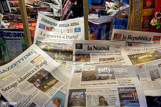 In this photo illustration several newspapers are on display on the counter of a local newsagent on November 14 2015 in Venice Italy In different...