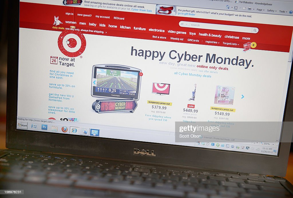 In this photo illustration, Target advertises Cyber Monday sales on the company's website on November 26, 2012 in Chicago, Illinois. Americans are expected to spend $1.5 billion while shopping online today, up 20 percent from last year.