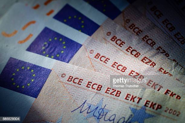 In this Photo Illustration the abbreviations for the European Central Bank can be seen on euro banknotes on August 03 2016 in Berlin Germany