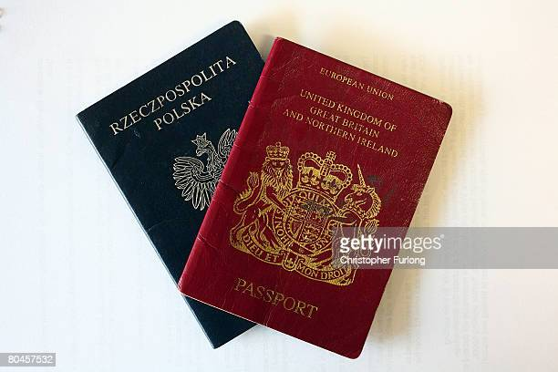 In this photo illustration the cover of a Polish passport is shown next to a UK passport on 1 April Crewe England Crewe in Cheshire has one of...