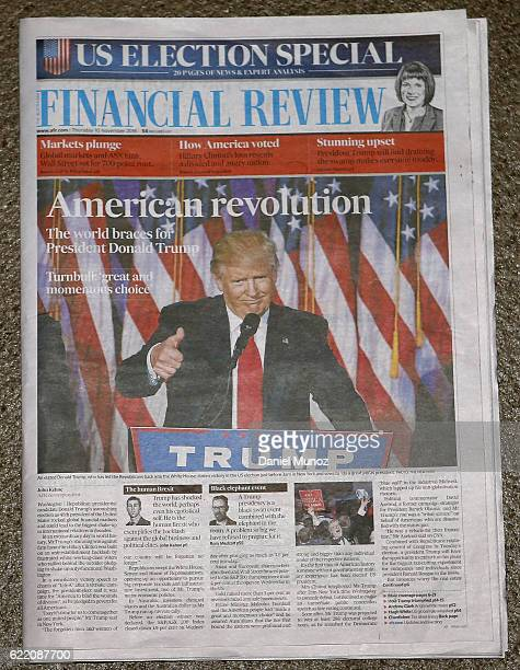 In this photo illustration the cover of Financial Review is shown on November 10 2016 in Sydney Australia Americans voted yesterday to elect Donald...