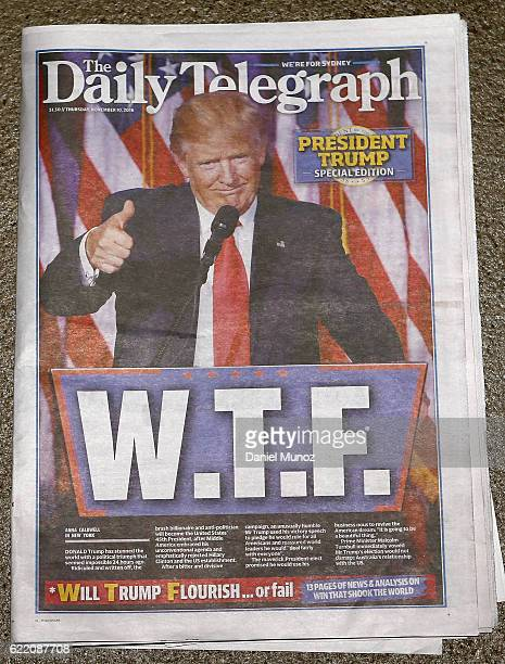 In this photo illustration the cover of The Daily Telegraph on November 10 2016 in Sydney Australia Americans voted yesterday to elect Donald Trump...