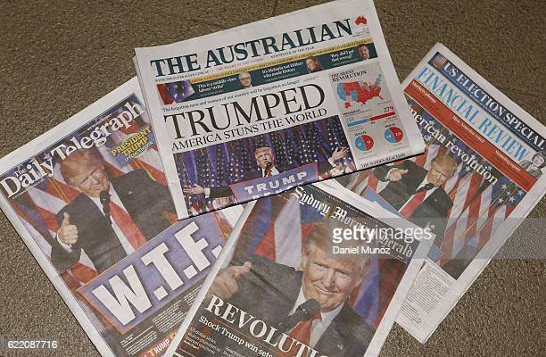 In this photo illustration the cover of The main Australian newspapers on November 10 2016 in Sydney Australia Americans voted yesterday to elect...