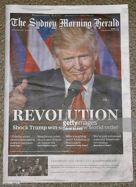 In this photo illustration the cover of The Sydney Morning Herald is shown on November 10 2016 in Sydney Australia Americans voted yesterday to elect...