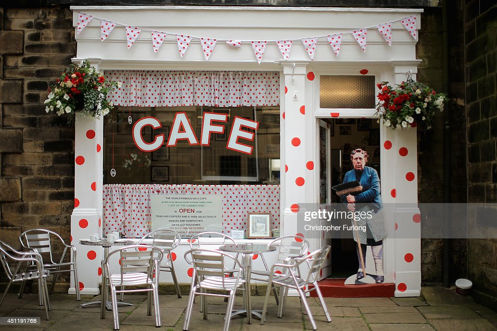 In this photo illustration the famous ''Sid's Cafe' from TV hit Last of the Summer Wine is decorated with King of the Mountains polka dots and a cardboard cut out of Nora Batty looking on as Yorkshire prepares to host the Tour de France Grand Depart, on June 24, 2014 in Holmfirth, United Kingdom. The people of Yorkshire are preparing to give the riders of the 2014 Tour de France a grand welcome as the route of stages one and two are decorated with bunting, bikes and yellow jerseys The Grand Depart of the 2014 Tour De France is taking place in Leeds with the first two stages taking place across Yorkshire on 6th and 7th of July.
