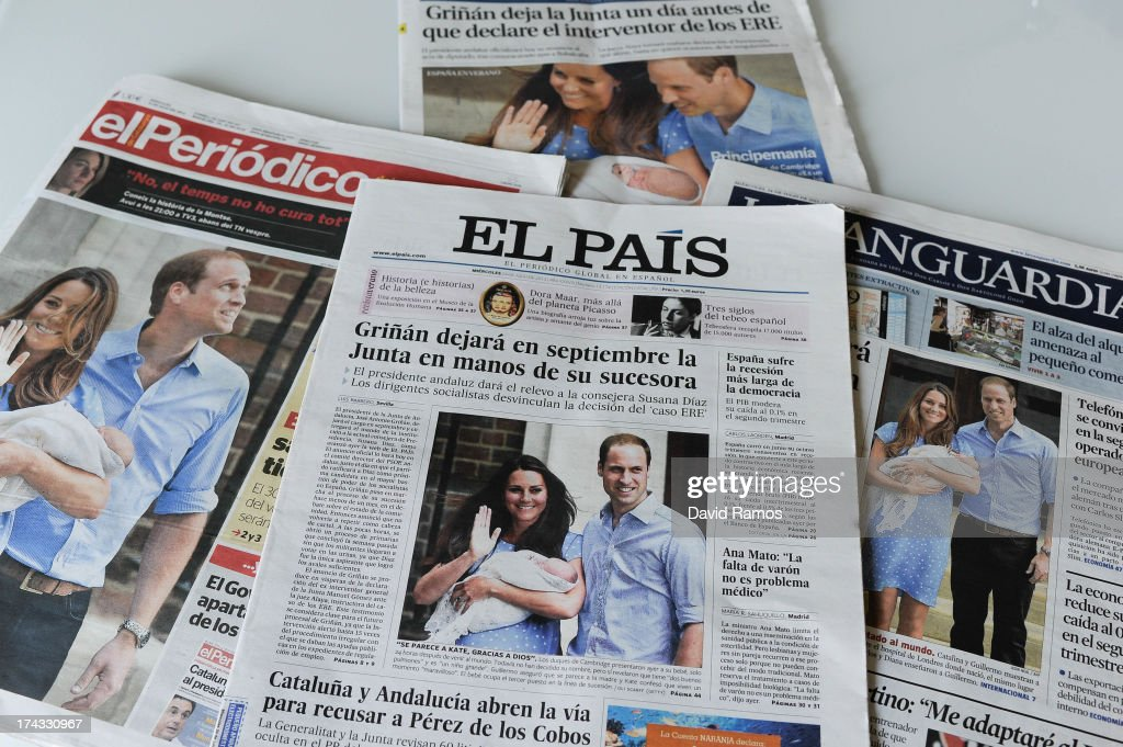 In this photo illustration, the front pages of the Spanish national newspaper titles are displayed featuring the birth of the new royal baby to the Duke and Duchess of Cambridge on July 24, 2013 in Barcelona. Catherine, Duchess of Cambridge gave birth to a boy on July 22 at 16.24 BST, weighing 8lb 6oz, with Prince William at her side. The baby, as yet unnamed, is third in line to the throne and becomes the Prince of Cambridge.