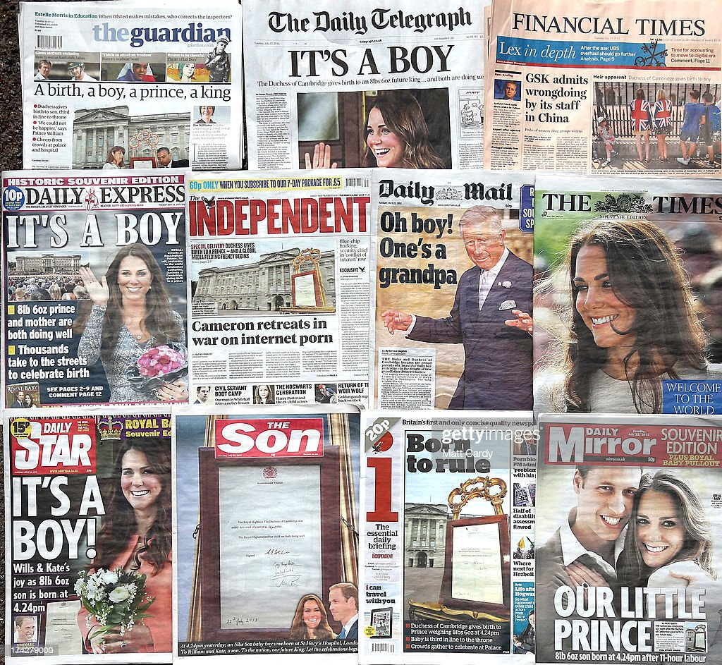 In this photo illustration, the front pages of the UK national newspaper titles are displayed on July 23, 2013 in Bristol, England. Catherine, Duchess of Cambridge yesterday gave birth to a boy at 16.24hrs BST and weighing 8lb 6oz, with Prince William at her side. The baby, as yet unnamed, is third in line to the throne and becomes the Prince of Cambridge.