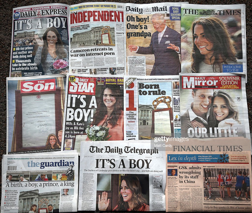 In this photo illustration, the front pages of the UK national newspaper titles are displayed on July 23, 2013 in Bristol, England. Catherine, Duchess of Cambridge yesterday gave birth to a boy at 16.24hrs BST and weighing 8lb 6oz, with Prince William, Duke of Cambridge at her side. The baby, as yet unnamed, is third in line to the throne and becomes the Prince of Cambridge.