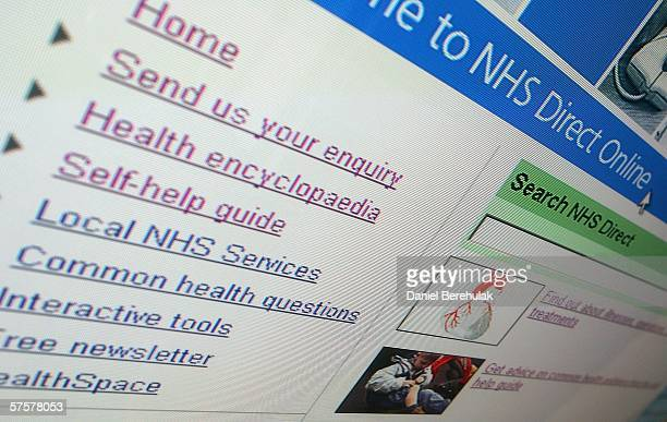 In this photo illustration the homepage of the NHS is displayed on a computer screen on May 10 2006 in London England
