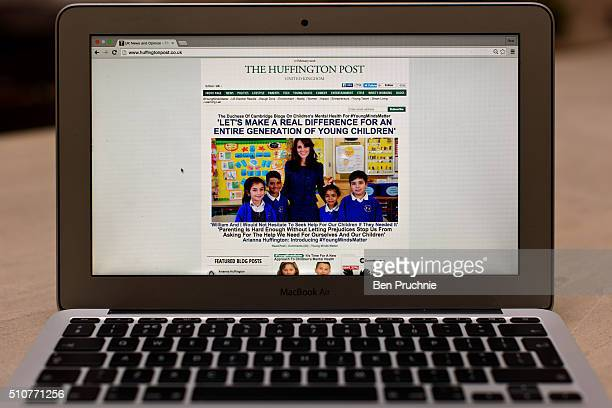 In this photo illustration the Huffington Post homepage is shown on an Apple Macbook Air on February 17 2016 in London England Today The Duchess Of...