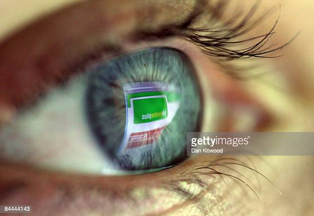 In this photo illustration the Job Centre Plus website is reflected on an eye January 24 2009 in London England Government figures released earlier...