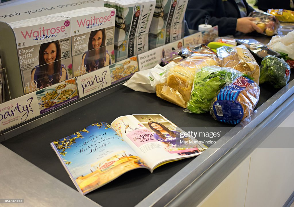 In this photo illustration the latest edition of Waitrose Kitchen Magazine, featuring Pippa Middleton on the cover, seen on a till conveyor belt in a Waitrose store on March 28, 2013 in Horley, England. Pippa Middleton, sister of Catherine, Duchess of Cambridge is writing a monthly column for the magazine featuring casual dining ideas and recipes.