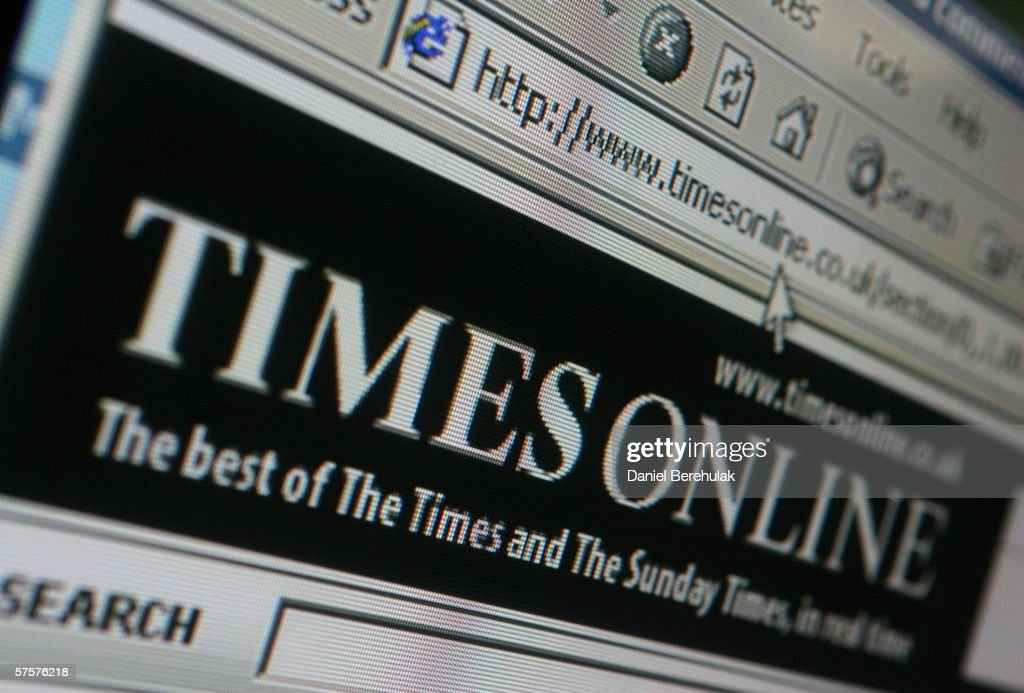In this photo illustration the logo and home page of the Times newspaper is displayed on a computer screen on May 10, 2006 in London, England.