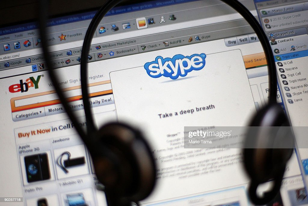 In this photo illustration, the Skype internet phone program and eBay website are seen September 1, 2009 in New York City. EBay announced it will sell most of its Skype online phone service to a group of investors for $1.9 billion, a deal that values Skype at $2.75 billion.