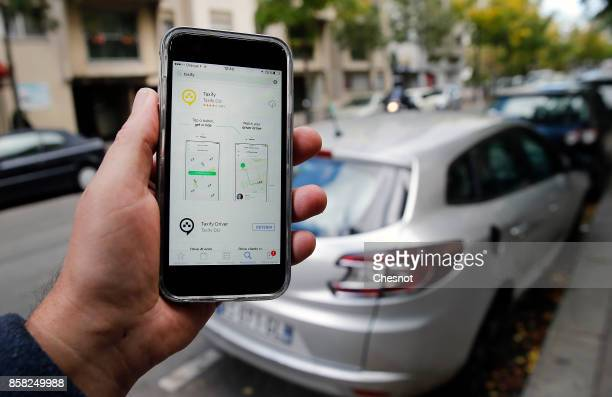 In this photo illustration the Taxify company application is displayed on the screen of an Apple iPhone 6 on October 06 2017 in Paris France The new...