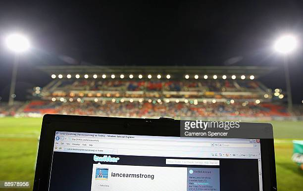 In this photo illustration the Twitter website is displayed on a laptop at a NRL match on July 11 2009 in Newcastle Australia The microblogging...