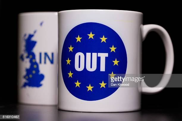 In this photo illustration the words 'IN' and 'OUT' are depicted on mugs on March 17 2016 in London United Kingdom The United Kingdom will hold a...