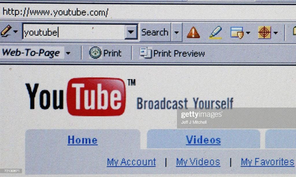 In this photo illustration the YouTube website is dispayed on October 10, 2006. Google has bought YouTube, the popular online video website where users can upload and watch videos for free, for $1.65billion dollars.