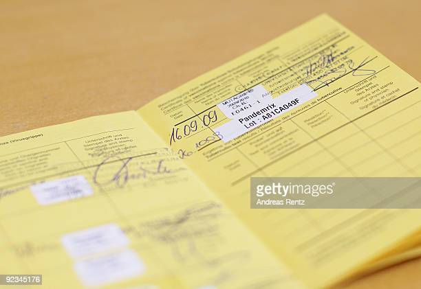 In this photo illustration vaccination card is pictured at Charite clinical center on October 26 2009 in Berlin Germany German officials have begun a...