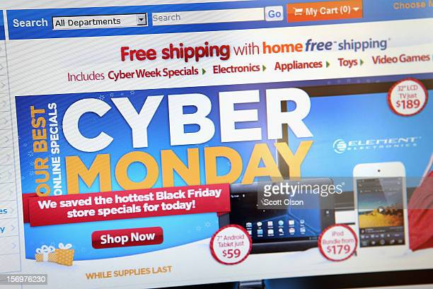 In this photo illustration Walmart advertises Cyber Monday sales on the company's website on November 26 2012 in Chicago Illinois Americans are...