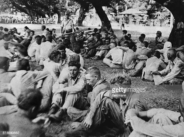 In this photo one of many captured by the Filipinos from the Japanese Americans are shown just before the 'Death March'