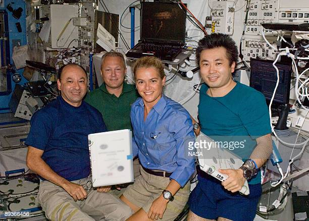 In this photo provided by NASA astronauts Mark Polansky STS127 commander Doug Hurley pilot Canadian Space Agency astronaut Julie Payette and Japanese...