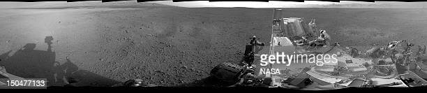 In this photo provided by NASA/JPLCaltech a 360degree image shows a complete fullresolution panorama around NASA's Curiosity rover taken by the...
