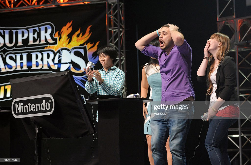 In this photo provided by Nintendo of America, semi-finalist Juan 'Hungrybox' Debiedma of Orlando, Florida reacts to a multiplayer battle during the Super Smash Bros. Invitational at NOKIA Theatre L.A. LIVE on June 10, 2014 in Los Angeles, California. The Invitational is to celebrate the upcoming launches of NintendoÕs Super Smash Bros. video games for Nintendo 3DS and Wii U.