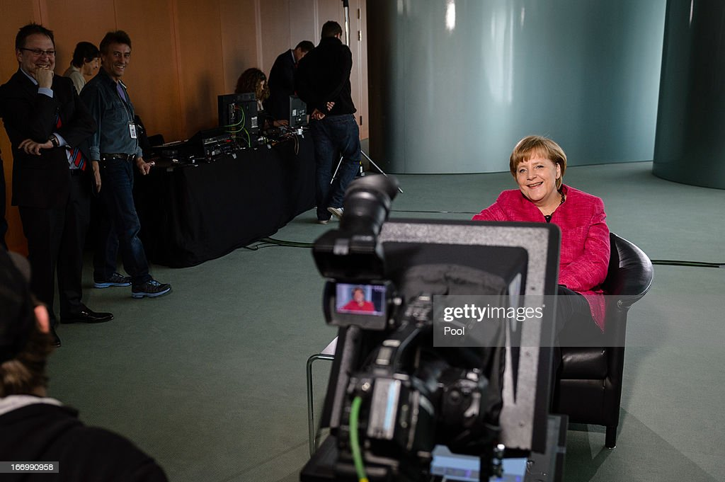 In this photo provided by the German Government Press Office (BPA), Chancellor Angela Merkel speaks during a Google Hangout on the subject of integration on April 19, 2013 in Berlin, Germany.