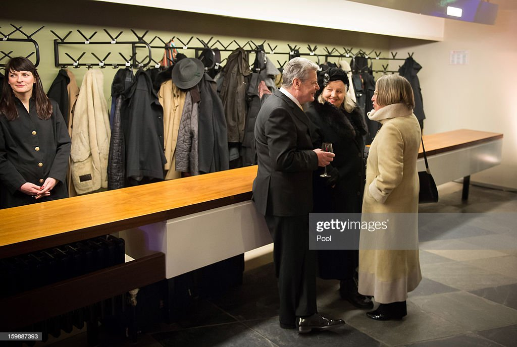 In this photo provided by the German Government Press Office (BPA), Federal President Joachim Gauck talks to guests after a concert at the Berliner Philharmonie to celebrate the 50th Anniversary of the Elysée Treaty, on January 22, 2013 in Berlin, Germany. The Élysée Treaty was signed in 1963 and heralded a period of reconcilliation and cooperation between Germany and France following World War II.
