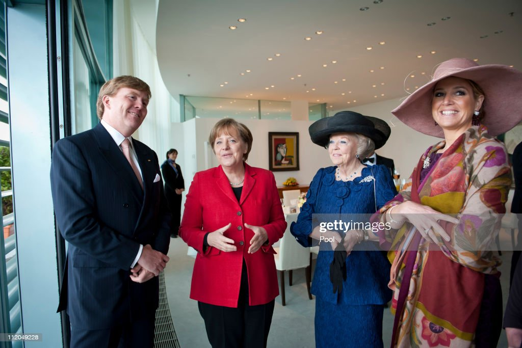 In this photo provided by the German Government Press Office, German Chancellor <a gi-track='captionPersonalityLinkClicked' href=/galleries/search?phrase=Angela+Merkel&family=editorial&specificpeople=202161 ng-click='$event.stopPropagation()'>Angela Merkel</a> (2nd L) welcomes Queen Beatrix (2nd R), Prince Willem-Alexander (L) and Princess Maxima of the Netherlands (R) at the Chancellery on April 12, 2011 in Berlin, Germany. The Dutch royals are on a four-day visit to Germany that includes stops in Berlin, Dresden and Duesseldorf.