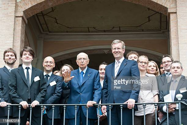 In this photo provided by the German Government Press Office German President Christian Wulff and the President of the Italian Republic Giorgio...