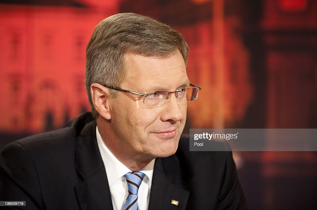 In this photo provided by the German Government Press Office German President <a gi-track='captionPersonalityLinkClicked' href=/galleries/search?phrase=Christian+Wulff&family=editorial&specificpeople=221618 ng-click='$event.stopPropagation()'>Christian Wulff</a> during a television interview in which he is scheduled to respond to critics at ARD studio on January 4, 2012 in Berlin, Germany. Wulff has come under increasing pressure to resign following reports that he personally intervened in attempts to prevent journalists from writing about aspects of his personal life, including a recent call to Editor-in-Chief Kai Diekmann of Bild Zeitung, in which he threatened Diekmann with legal action should the paper publish a story about Wulff's personal finance conduct while Wulff was prime minister of Lower Saxony. These accusations come on the heels of revelations of cozy relationships between Wulff and businessmen in Lower Saxony that included free holidays and low interest loans.