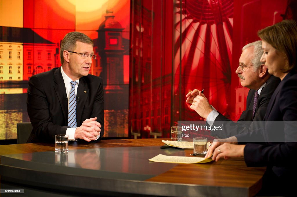 In this photo provided by the German Government Press Office German President <a gi-track='captionPersonalityLinkClicked' href=/galleries/search?phrase=Christian+Wulff&family=editorial&specificpeople=221618 ng-click='$event.stopPropagation()'>Christian Wulff</a> during a television interview with TV reporter Bettina Schausten and TV reporter Ulrich Deppendorf in which he is scheduled to respond to critics at ARD studio on January 4, 2012 in Berlin, Germany. Wulff has come under increasing pressure to resign following reports that he personally intervened in attempts to prevent journalists from writing about aspects of his personal life, including a recent call to Editor-in-Chief Kai Diekmann of Bild Zeitung, in which he threatened Diekmann with legal action should the paper publish a story about Wulff's personal finance conduct while Wulff was prime minister of Lower Saxony. These accusations come on the heels of revelations of cozy relationships between Wulff and businessmen in Lower Saxony that included free holidays and low interest loans.