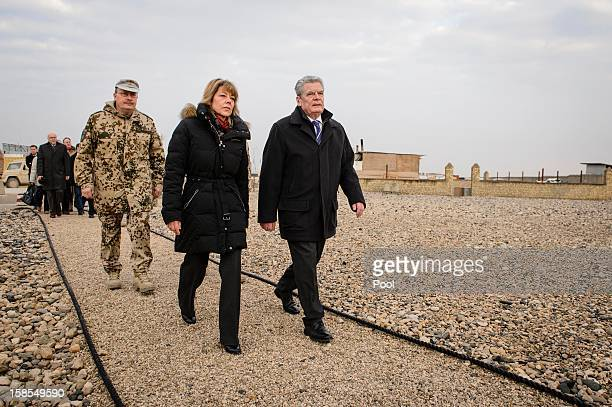In this photo provided by the German Government Press Office German President Joachim Gauck his partner Daniela Schadt and regional commander Major...